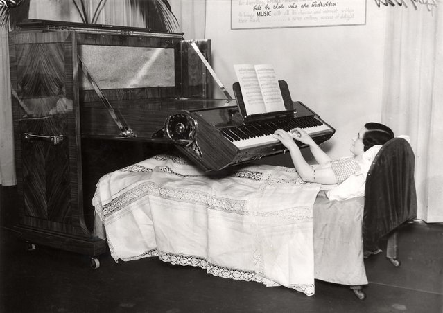 Being bed ridden in 1935 was no excuse for not practicing as this piano bed shows. Now, we're totally mobile but that doesn't mean we wouldn't love to play songs from the comfort of our own comfy mattress.