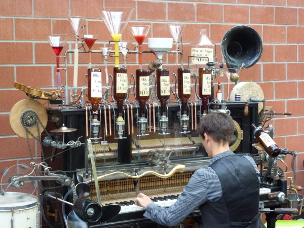 "Now this crazy invention gives a whole new meaning to the term ""piano bar"" because it will actually dispense a custom made cocktail depending on what and how you play! How will your piano drink taste? We have no idea but we're totally willing to find out!"